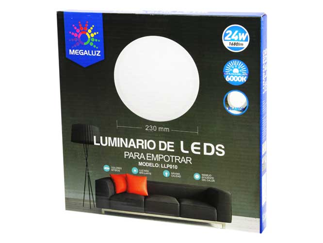luminaria led megaluz llp010 s09w24ib, 24w, 23cm de diámetro, diseño circular, para empotrar, fácil instalación, ahorro de energía