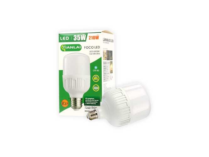 foco led ahorrador luz fria megaluz, e27, 35w, 210w, s35w02, diseÑo mas compacto y estetico