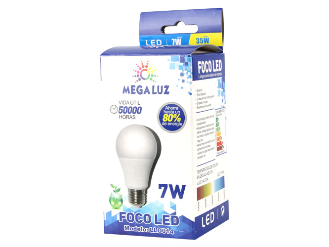 Foco LED B07W01, 7w, equivale a 35w, ideal para interiores.