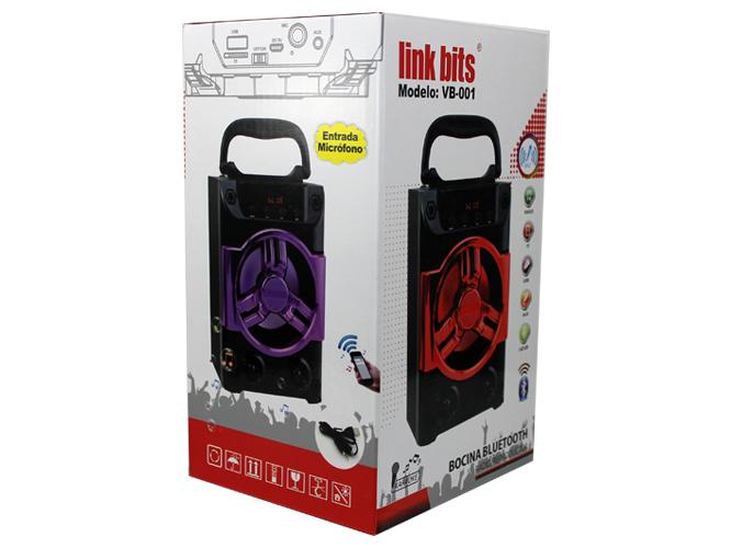 bocina portatil link bits vb-001 va410bk, bluetooth, recargable, usb, ft, aux, entrada de microfono, incluye cable aux, cable v8.