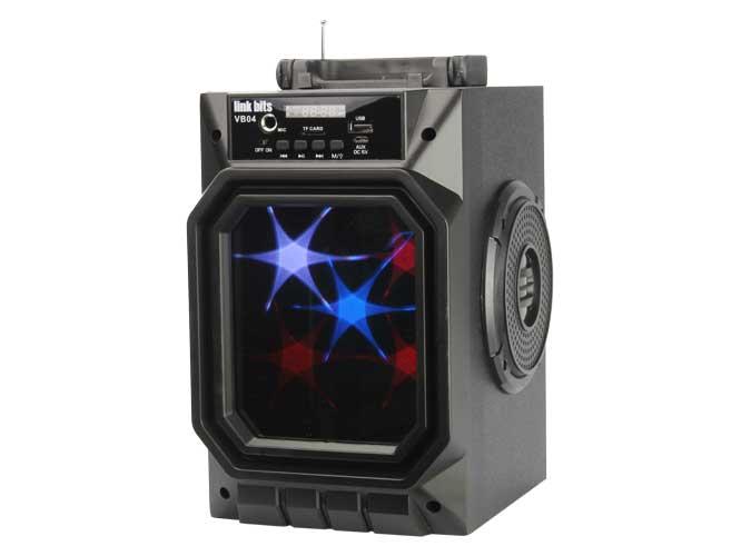 bocina portatil link bits vb04 vb444t, bluetooth, acabado frontal tipo espejo, lector usb, micro sd, jack para microfono