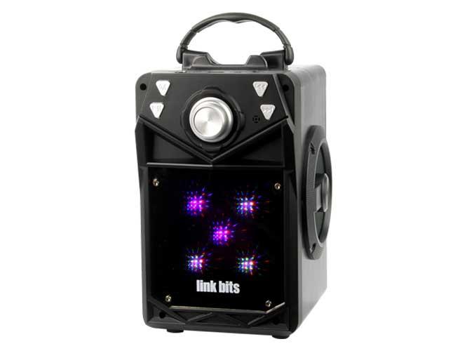 bocina portatil link bits vb-02 vb446te vb446tb, bluetooth, diseño espejo, radio fm, lector usb, micro sd, control analogo de volumen
