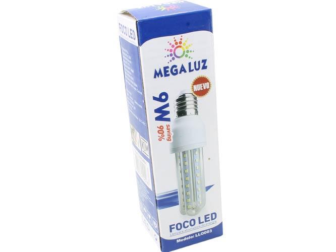 foco led megaluz llo003 3u09w01, 9w, foco ahorrador de iluminación led, 50/60hz, ideal para interiores
