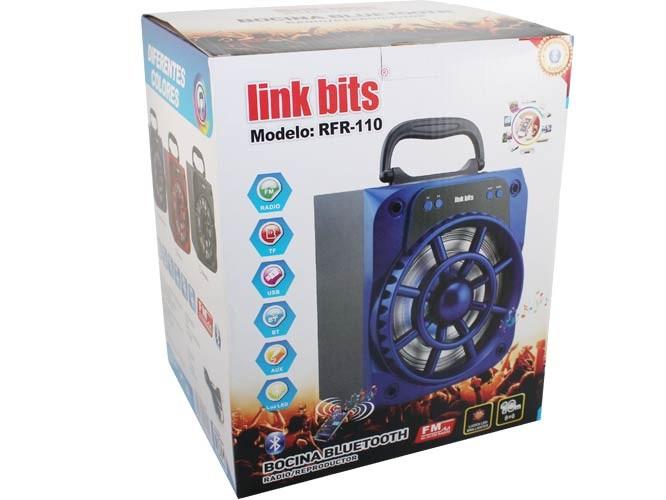 bocina link bits, fm, usb, tf, aux, mp3, luz led, 800mah, alta duracion de reproduccion b06016bt