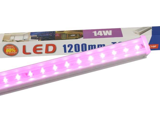 tubo led megaluz fucsia 14w, t8, 1200mm facil de instalar t8x2c10f