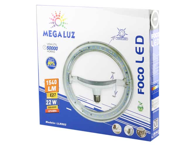 Foco led de 22w, socket e27 llr002 r22w02, , 1540, diseño circular, fácil de instalar, movimiento lateral
