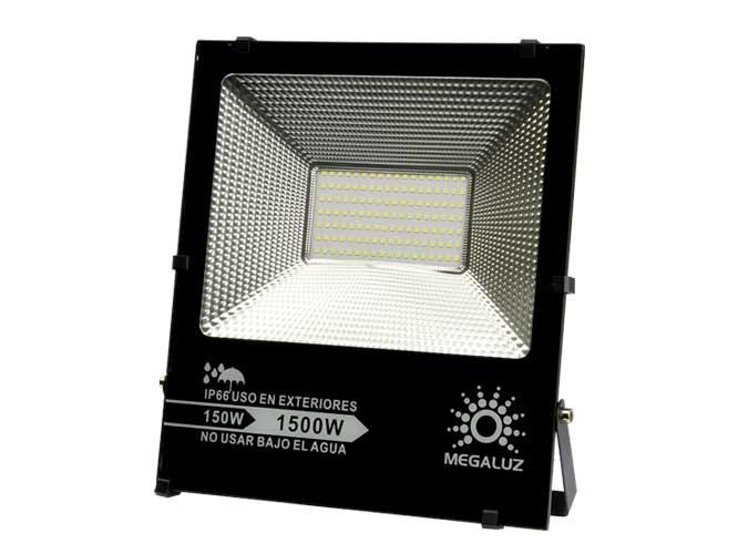 reflector led megaluz r16w150s21, 150w, ilumina 1500w, 9200lm, proteccion ip66, facil de montar