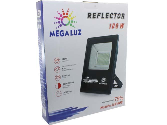 reflector led mega luz llr-008 r100w01, luz led para exteriores, certificacion ip66 resistente a agua y polvo, 8000 lumen