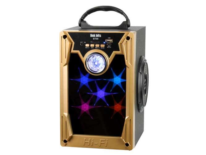 bocina portátil link bits bt09 va417be, bluetooth, diseño espejo con luces  led y bocinas laterales lector usb, tf, radio fm,