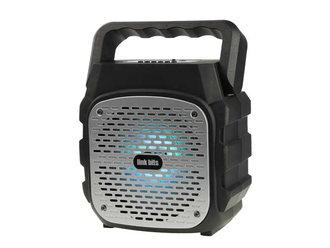 bocina link bits, bluetooth, diseño cuadrado, radio fm, lector usb, tf, luces led, vb-007 ca601tp kts-1118a