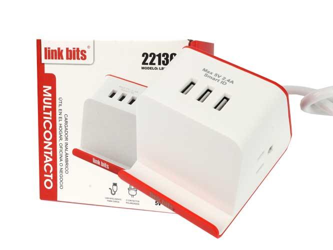 multicontacto link bits lbs-ft02, soporte para celular con 3 puertos usb, 2 contactos polarizados, 10a 2500w, 5v